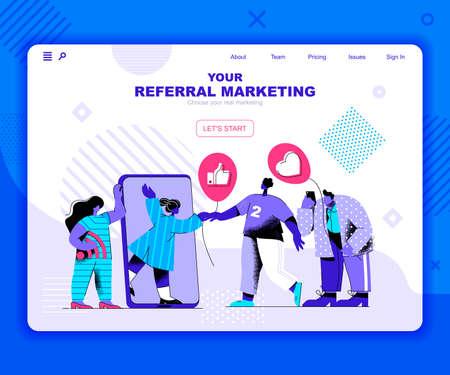 Referal marketing landing page vector template. Target advertising content website header UI layout with flat illustration. Viral trend, e-commerce campaign web banner flat concept Vektoros illusztráció