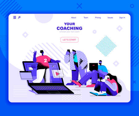 Coaching landing page vector template. Business training team website header UI layout with flat illustration. Professional meeting in workplace web banner flat concept