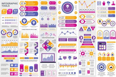 Regroupez le modèle de conception de vecteur de visualisation de données d'éléments infographiques. Peut être utilisé pour les étapes, les processus métier, le flux de travail, le diagramme, le concept d'organigramme, la chronologie, les icônes marketing, les graphiques d'informations.