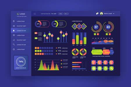 Dashboard UI. Admin panel vector design template with infographic elements, HUD diagram, info graphics. Website dashboard for UI and UX design web page. Dark style. Vector illustration. Illustration