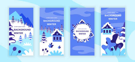 Winter scenery social media stories design templates vector set, backgrounds with copyspace - country landscapes - backdrop for vertical banner, poster, greeting card - snowy weather concept