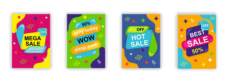 Sale poster social media stories design templates vector set. Promotion flyer, discount voucher, advertising poster. Vector cover sale ads labels and special offer market brochure.