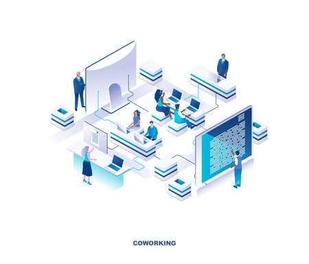 Coworking place or shared office isometric landing page. Concept with employees, managers or clerks sitting at desks and working on laptop computers in open space. Vector illustration for website.