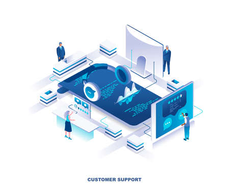 Customer or technical support service isometric landing page. Concept with tiny people working around giant headphones. Dispatchers in call center, hotline or helpline. Modern vector illustration.