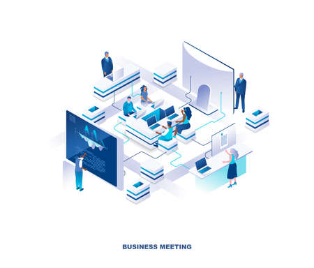 Business meeting isometric landing page. Concept with group of clerks or employees sitting around table at office and standing at giant computer screens or control panels. Modern vector illustration.