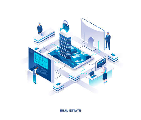 Real estate isometric landing page. Concept of housing, residential construction and engineering with tiny people working at digital screens around buildings or skyscrapers. Vector illustration.
