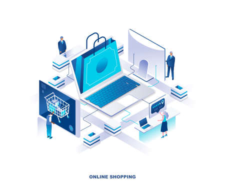 Internet or online shopping, digital retail service isomeric landing page. Concept with tiny people or customers making orders on web store or shop. Modern vector illustration for advertisement.