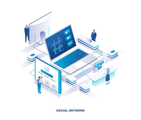Social media or network isometric landing page. Concept of online platform for communication with people standing around laptop computer with feedback notifications on screen. Vector illustration. Banque d'images - 140242874