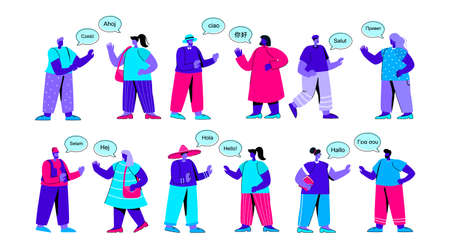 Set of funny people saying hello or greeting each other in foreign languages. Bundle of foreigners talking, having conversation or dialog. International communication. Flat blue vector illustration.