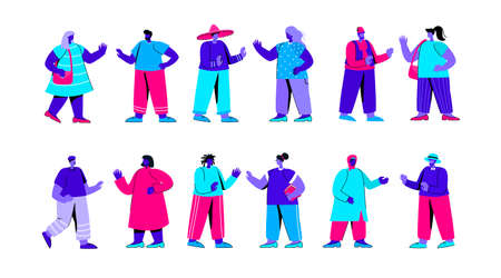 Set of people of different race, ethnicity, nationality. Bundle of foreigners waving hands and having conversation. Multinational or multicultural communication. Modern flat blue vector illustration.
