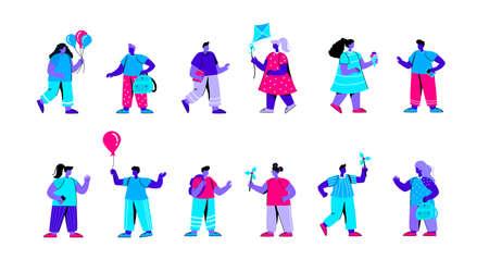 Set of kindergarten children playing with pinwheels, kites, eating ice cream. Bundle of primary or elementary school kids, pupils, classmates. Happy childhood. Flat blue vector illustration.