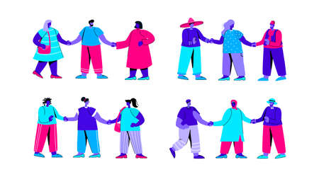 Set of diverse groups of men and women standing together and holding hands. Bundle of people of different nationality or race. International friendship or community. Flat blue vector illustration. Ilustrace