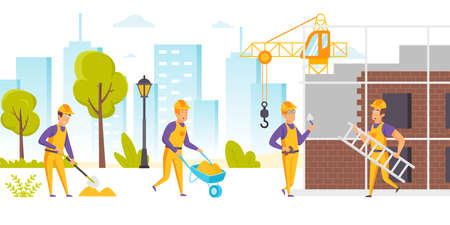 Group of builders in hard hats and uniform working on construction site. Workers using wheelbarrow, carrying ladder, digging, constructing building. City development. Flat cartoon vector illustration.