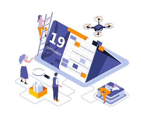 Calendar table isometric landing page vector template.