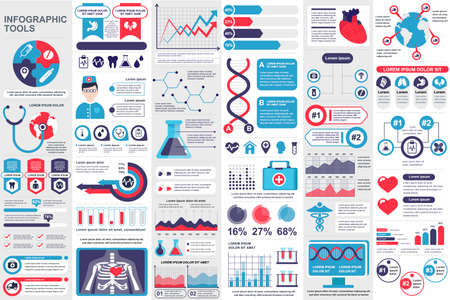 Medical infographic elements set. Healthcare, emergency and pharmacy industry analytics. Data visualization bundle with colorful diagrams and charts vector illustration. Clinical research template.