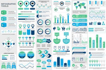 Éléments infographiques d'entreprise définis dans un style plat. Ensemble de visualisation de données prêt à être utilisé dans une présentation commerciale et un rapport d'analyse. Illustration vectorielle de diagrammes colorés circulaires et linéaires. Vecteurs