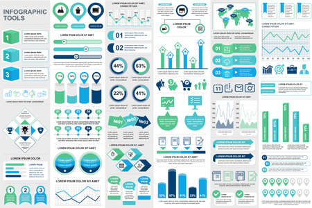 Business infographic elements set in flat style. Data visualization bundle ready to use in business presentation and analytics report. Circular and linear colorful diagrams vector illustration. Ilustração Vetorial