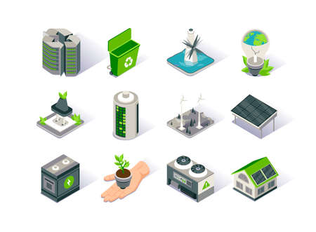 Clean energy isometric icon set. Ecology environment and electricity generation. Alternative sources, wind and solar energy production, tidal power station. Renewable energy sources 3d vector isometry Stock Illustratie