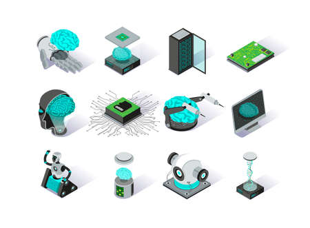 Artificial intelligence isometric icons set. Deep learning modern technology pictograms. Futuristic cyber innovation and brain engineering. Machine learning and neural network 3d vector isometry.