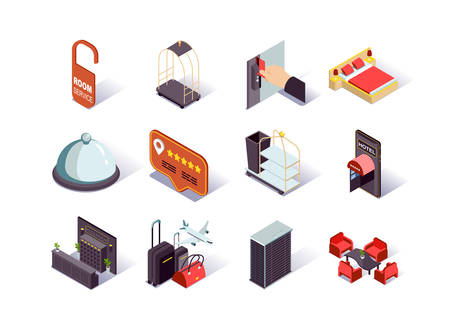 Hotel infrastructure isometric icons set. Hotel booking and review, reception desk, restaurant, lobby, suitcases and room service pictograms. Hotel reservation and touristic agency 3d vector isometry.