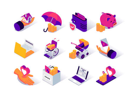 Social security isometric icons set. Social benefits for disability, payments for pension and childbirth. Mortgage benefits and insurance. Social protection and assistance services 3d vector isometry.