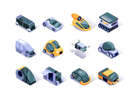Autonomous vehicles isometric icons set. Futuristic self-driving car, taxi cab, bus, fly copter and truck. Artificial intelligence and smart technology in transportation system 3d vector isometry. 向量圖像
