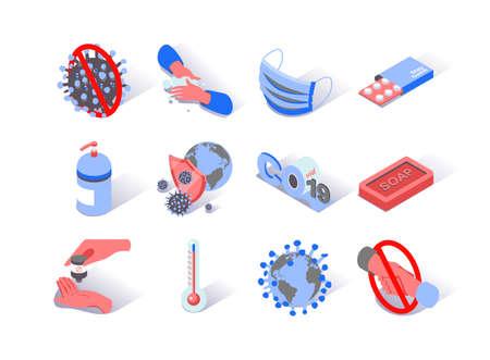 Virus epidemic isometric icons set. Soap, safety mask, antiseptic and pills pictograms. World hygiene and quarantine. Hand washing and handshake prohibition. Coronavirus infection 3d vector isometry.