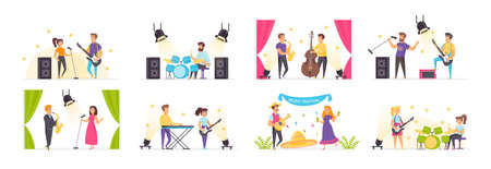 Musicians set with people characters in various situations. Rock band playing guitar, drum and synthesizer. Jazz orchestra with vocalist and saxophonist. Bundle of studio audio record in flat style.