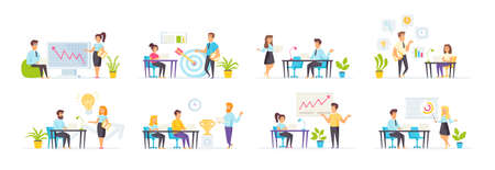 Coaching and mentoring set with people characters in various scenes. Business trainer teaching audience at seminar. Business motivation and career growth. Bundle of business training in flat style.