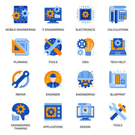 Modern engineering icons set in flat style. Electronic solution, idea generation, design and development, business planning and calculation signs. Mobile and IT engineering pictograms for UX UI design Vector Illustration