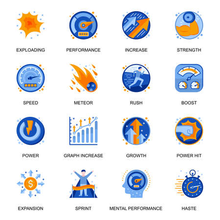Mental performance icons set in flat style. Power hit, boost and rush, exploding and meteor, expansion and growth, speed and power signs. Efficiency improvement pictograms for UX UI design.
