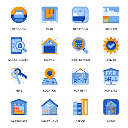 Real estate icons set in flat style. Bedroom, bathroom and kitchen, rent and sale service, mobile search, residential and commercial building signs. Real estate agency pictograms for UX UI design. Vektoros illusztráció