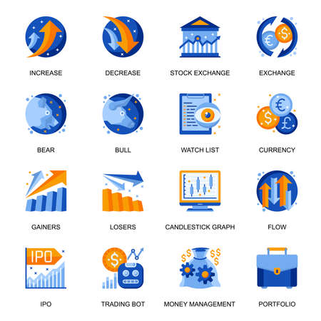 Stock trading icons set in flat style. Bear and bull market, currency exchange, stock trading bot, increase and decrease, money flow, watch list signs. Money management pictograms for UX UI design. 矢量图像