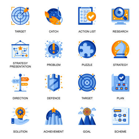 Business strategy icons set in flat style. Strategy presentation, planning and direction, research and targeting, problem and solution signs. Management and marketing pictograms for UX UI design. Vecteurs