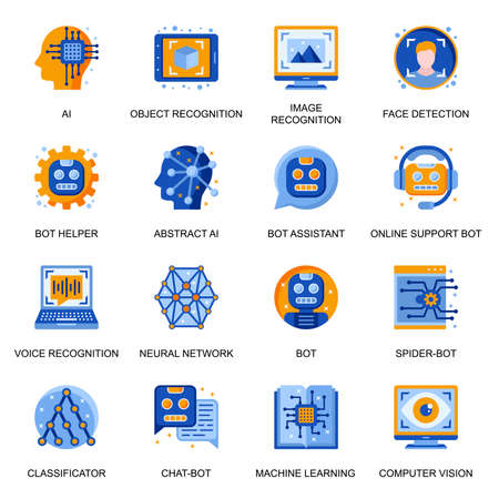 Artificial intelligence icons set in flat style. Image and voice recognition, online support and assistant chatbot, neural network, computer vision signs. Machine learning pictograms for UX UI design.