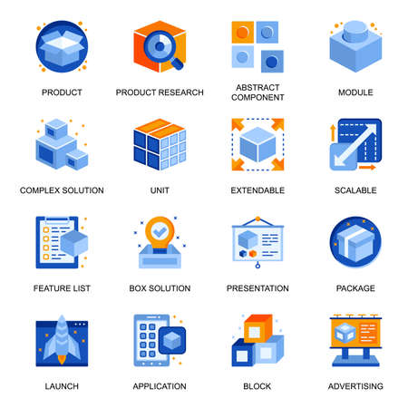 Product branding icons set in flat style. Product research, component and module, extensible and scalable system, advertising and presentation signs. Abstract box solution pictograms for UX UI design.