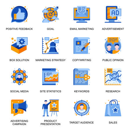 Marketing strategy icons set in flat style. Target audience keywords, public opinion, positive feedback, site statistics, copywriting and research signs. Mail marketing pictograms for UX UI design. Illustration