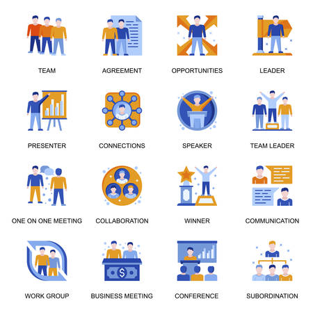 Business people icons set in flat style. Team communication and collaboration, presentation and conference, workgroup subordination, win and leading signs. Business meeting pictograms for UX UI design 矢量图像