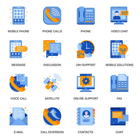 People communication icons set in flat style. Video chat, 24h support, messaging and discussion, mobile solution, email and fax signs. People connection technology pictograms for UX UI design.