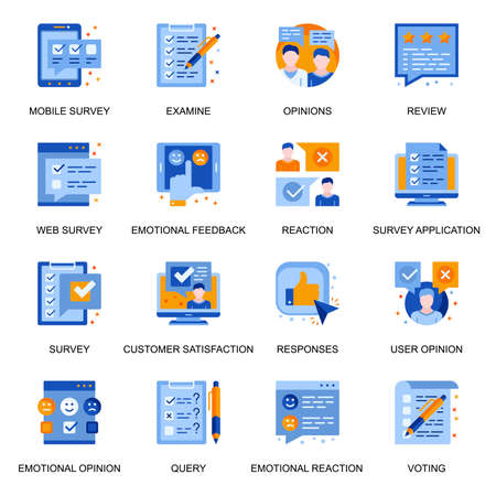 Web survey icons set in flat style. Emotional reaction and opinion, user query, mobile voting and review, customer satisfaction and feedback signs. Survey application pictograms for UX UI design.