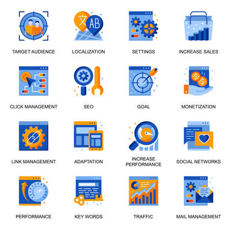 SEO icons set in flat style. Link management and settings, adaptation and localization, traffic control and monetization, social network signs. Website management pictograms for UX UI design. Vektoros illusztráció