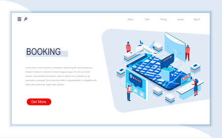 Online booking isometric landing page. Travel application for ticket orders, hotel search, review and reservation. Digital technology and devices. Busy people in work situation 3d vector isometry. Ilustração