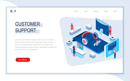 Customer support isometric landing page. Call center service, online assistance and consultation, internet help chat. Digital technology and devices. Busy people in work situation 3d vector isometry.