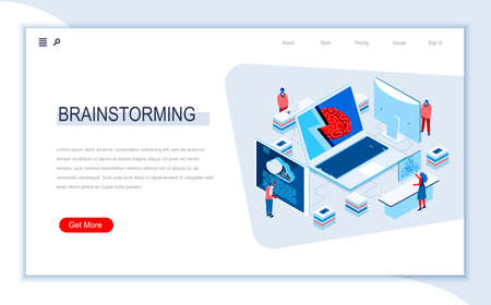 Brainstorming isometric landing page. Business idea presentation, create new solution or product for startup. Digital technology and devices. Busy people in work situation 3d vector isometry. Vetores