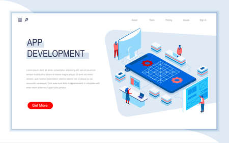 App development isometric landing page. UI UX usability design, application prototyping, construction and programming. Digital technology and devices. Busy people in work situation 3d vector isometry.