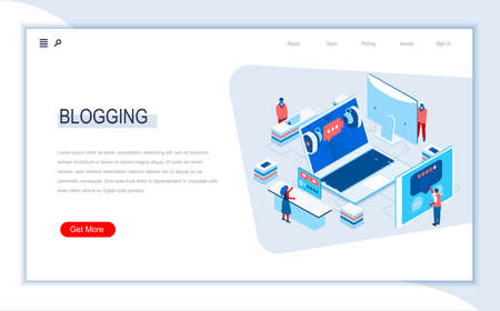 Blogging isometric landing page. Social content and blogging, network communication, internet posting and messaging. Digital technology and devices. Busy people in work situation 3d vector isometry.