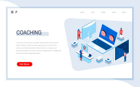 Business coaching isometric landing page. Business consultation and assistance, career growth, motivation and mentoring. Digital technology and devices. Busy people in work situation vector isometry. Векторная Иллюстрация