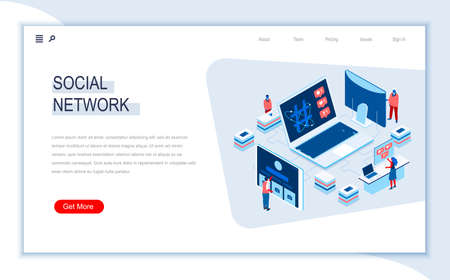 Social network isometric landing page. Internet community communication, social media content sharing, posting message. Digital technology and devices. Busy people in work situation 3d vector isometry