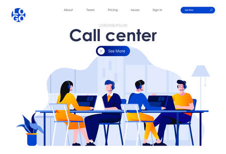 Call center flat landing page design. Hotline operators with headsets in office scene with header. Online customer support, telemarketing agency, consultation and assistance. Work process situation.