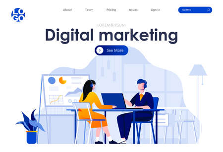 Digital marketing flat landing page design. Telemarketing operators with headsets in office scene with header. Marketing research, business analytics and social targeting. Work process situation.